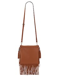 Rebecca Minkoff Fringe Moto Drawstring Crossbody Bag Almond
