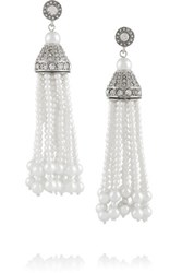 Kenneth Jay Lane Rhodium Plated Faux Pearl And Crystal Tassel Earrings Silver