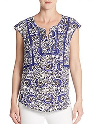 Daniel Rainn Printed Cap Sleeve Top Cobalt