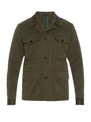 Paul Smith Single Breasted Cotton And Linen Blend Jacket Khaki