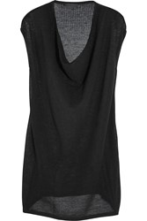 Donna Karan Draped Open Knit Cashmere Top Black
