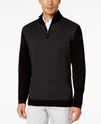 Tasso Elba Men's Big And Tall Pattern Quarter Zip Sweater Only At Macy's Black Combo