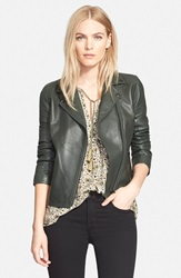 Truth Pride 'Luna' Leather Moto Jacket Green
