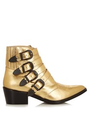 Toga Buckle Leather Ankle Boots Gold