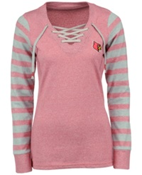 Antigua Women's Louisville Cardinals Lace Up Sweatshirt Light Red Gray