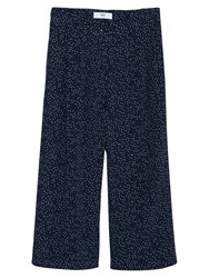 Mango Printed Wide Leg Trousers Navy