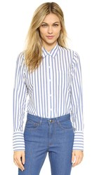 Nili Lotan Hampton Shirting Shirt White W Navy Stripe