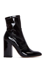 Valentino Patent Block Heeled Ankle Boots Black