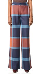Tanya Taylor Blanket Plaid Ashland Pants Rust Royal Multi