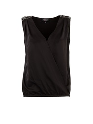 Morgan Studded Shoulder Wrapover Front Top Black