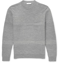 Tim Coppens Panelled Knit Merino Wool Sweater Gray