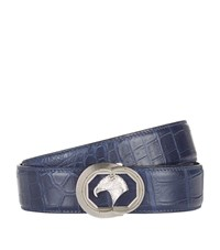 Stefano Ricci Eagle Buckle Croc Belt Unisex Blue