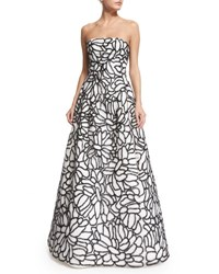 Oscar De La Renta Strapless Sequined Embroidered Organza Gown White Black