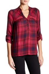 Jolt Roll Tab Plaid Woven Blouse Red