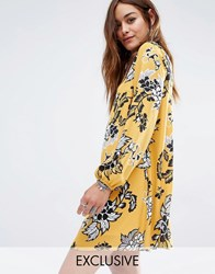 Reclaimed Vintage Open Back Swing Dress In Sparse Floral Print Yellow
