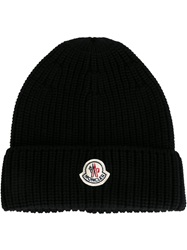 Moncler Ribbed Knit Beanie Black