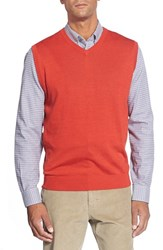 Men's Cutter And Buck 'Douglas' Merino Wool Blend V Neck Sweater Vest Milano Red Heather