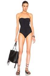 Karla Colletto Fringe Bandeau Swimsuit In Black