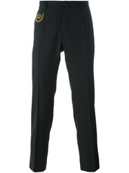 Dolce And Gabbana Embroidered Crown Tailored Trousers Black