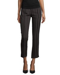 Haute Hippie Slim Leg Striped Tuxedo Pants Black Buff