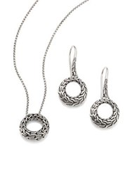John Hardy Classic Chain Sterling Silver Small Round Pendant Necklace And Drop Earrings Gift Box Set