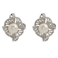 Lido Pearls Freshwater Pearl Twisted Flower Stud Earrings Silver White