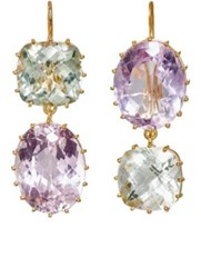 Renee Lewis Women's Purposely Mismatched Double Drop Earrings Purple