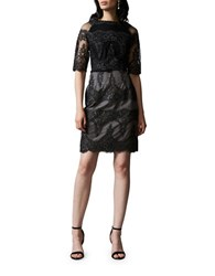 Kay Unger Two Tone Embroidered Tulle Cocktail Dress Black Multi