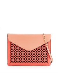 Neiman Marcus Callie Laser Cut Envelope Shoulder Bag Rose Coral Pink Coral