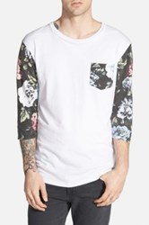 Insight 'Blue Note' Floral Print Three Quarter Sleeve T Shirt White