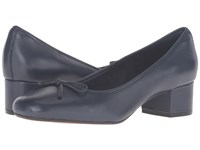 Clarks Cala Lucky Navy Leather Women's Shoes Blue