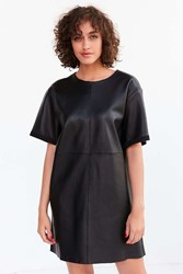 Silence And Noise Leather Boxy Mini T Shirt Dress Black