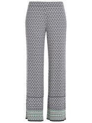Max Studio Printed Wide Leg Trousers Navy Off White