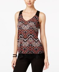 Inc International Concepts Lace Trim Printed Top Only At Macy's Autumn Chevron