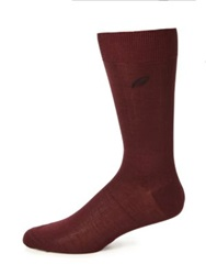 Brioni Ribbed Cotton Socks Dark Red
