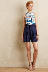 Anthropologie Streetcar Paperbag Shorts Navy