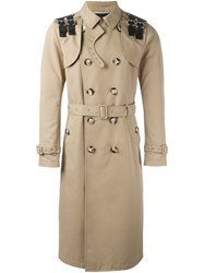 Valentino Buckled Shoulder Trench Coat Nude Neutrals