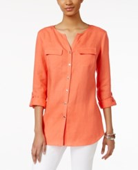 Jm Collection Linen Utility Shirt Only At Macy's Porcelain Rose