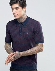 Fred Perry Knitted Polo Shirt With Stripe In Vintage Navy Marl Vin Ny Ml