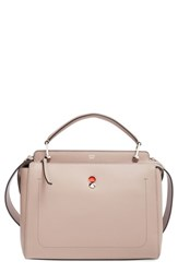 Fendi 'Dot Com' Leather Satchel Grey Dove Grey Poppy
