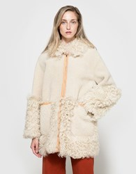 Frankie Reversible Shearling Coat Ivory Tan
