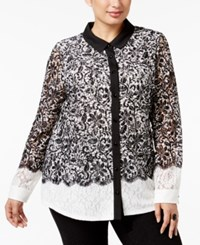 Charter Club Plus Size Lace Colorblocked Blouse Only At Macy's Vintage Cream Combo