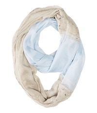 Betsey Johnson Color Block Foil Crinkle Loop Scarf Denim Scarves Blue
