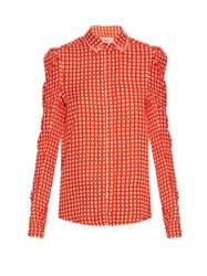 Preen Ari Crystal Embellished Gingham Shirt Red Print