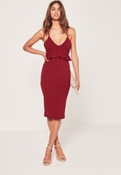 Missguided Strappy Frill Bodycon Dress Burgundy