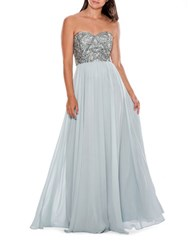 Decode 1.8 Strapless Beaded Gown Dusty Blue