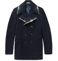 Bottega Veneta Double Breasted Check Trimmed Wool And Cashmere Blend Peacoat Navy