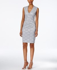 Connected Sequined Lace Sheath Dress Platinum