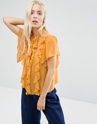 Asos Ruffle Blouse With Short Sleeve And Tie Ochre Yellow