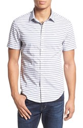 Original Penguin Men's Trim Fit Stripe Short Sleeve Woven Shirt